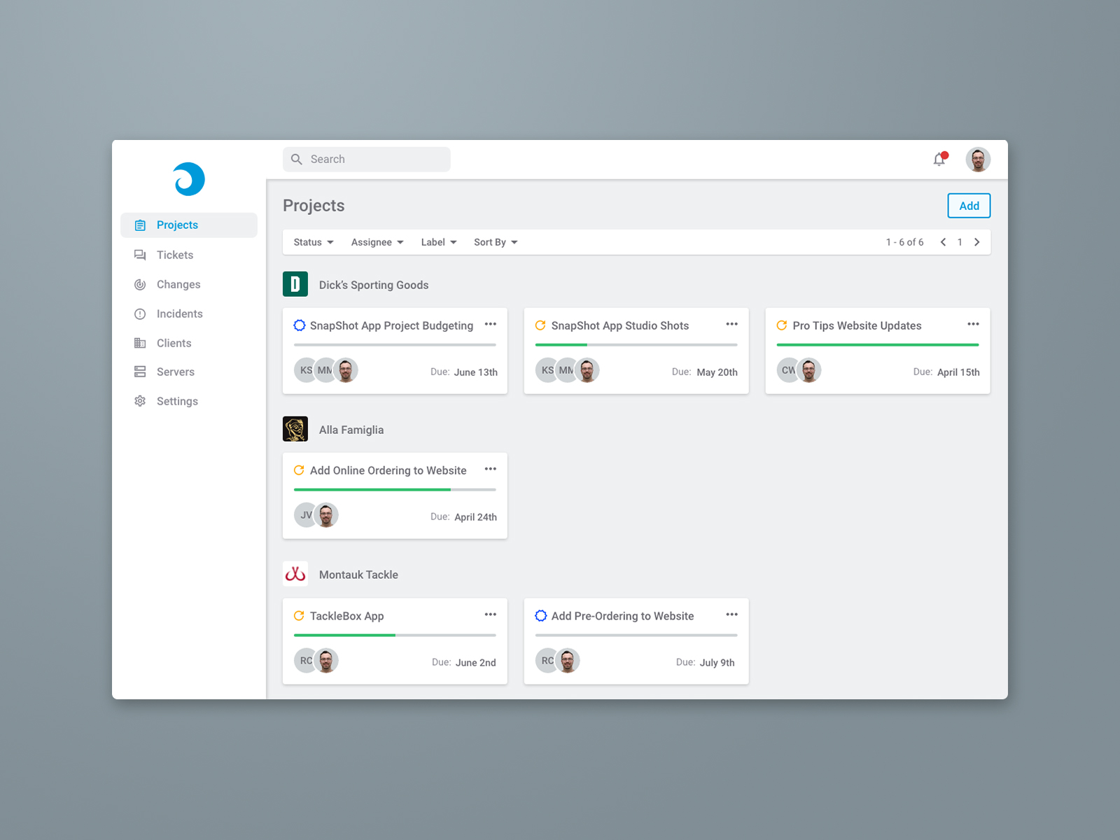 Dynima App Projects View